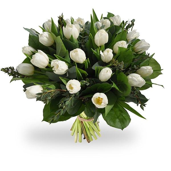 Boeket witte tulpen groot