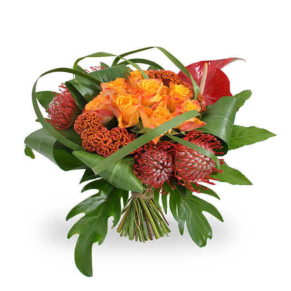 Modern orange-red bouquet large