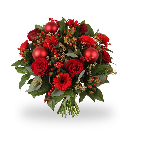 Kerstboeket Vrolijk Rood medium