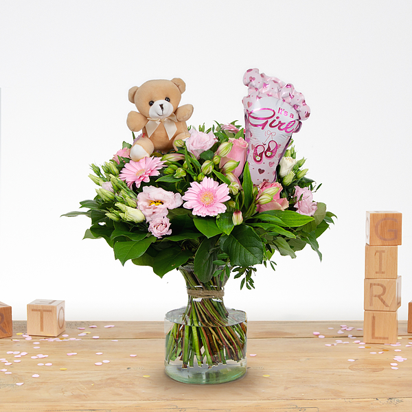 Birth bouquet Nola with ballon and bear medium
