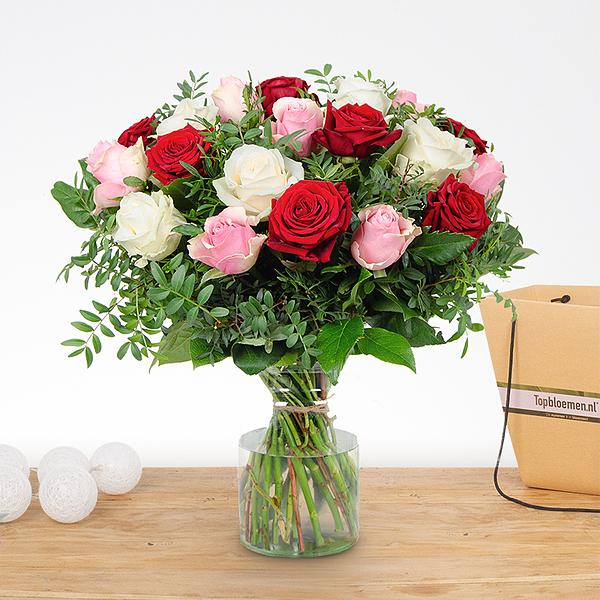 Boeket Romy rood-roze-wit groot