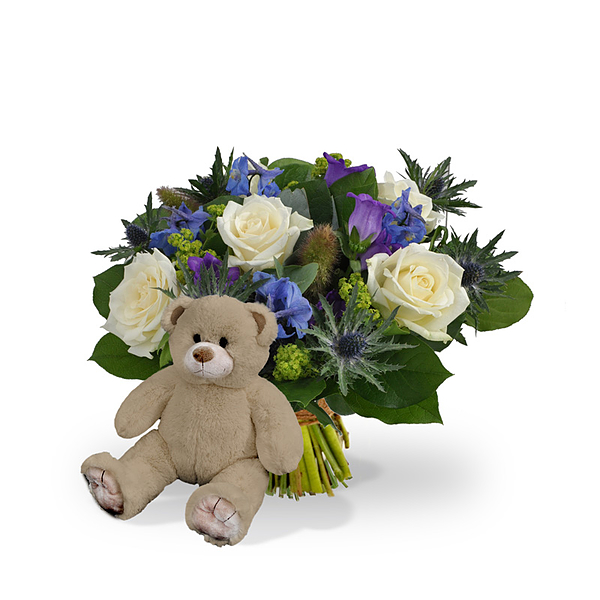Boy bouquet standard + brown teddy