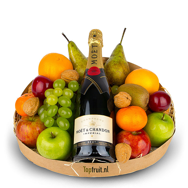 Fruitmand met Champagne