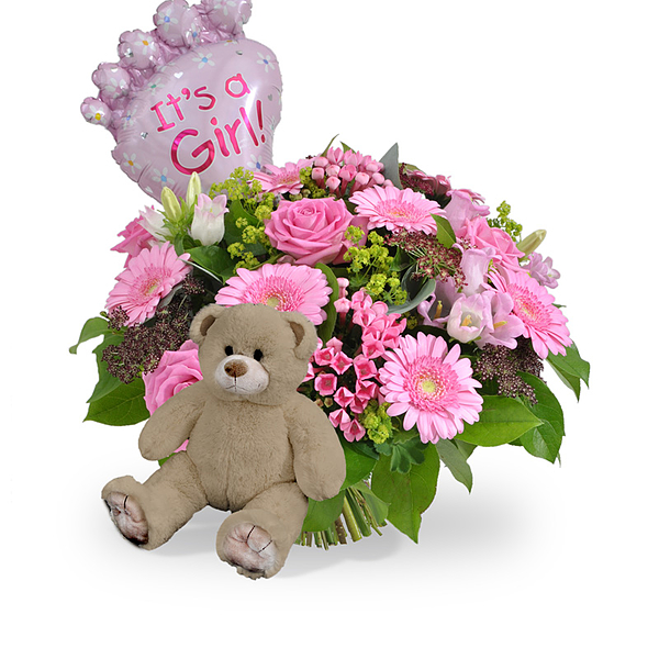 Bouquet Its a girl balloon standard + brown teddy medium