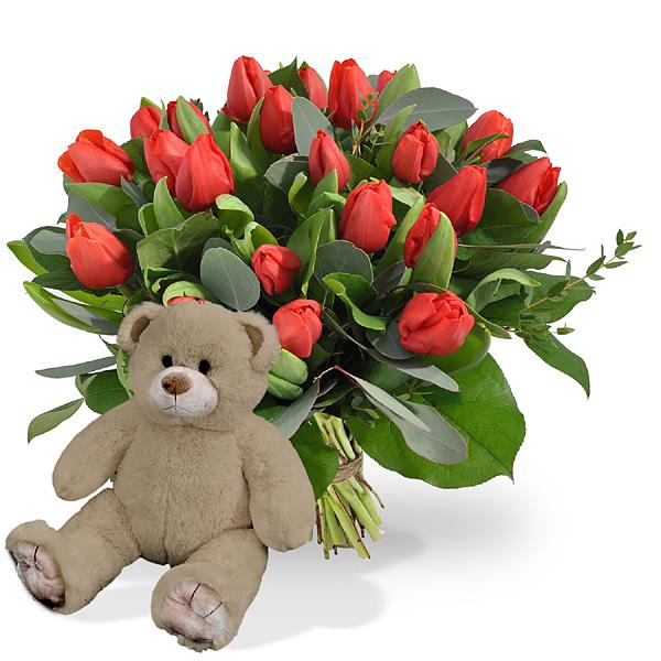 Rode tulpen groot + bruine knuffel