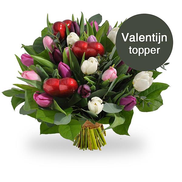 Pastel tulpen met hartjes standaard