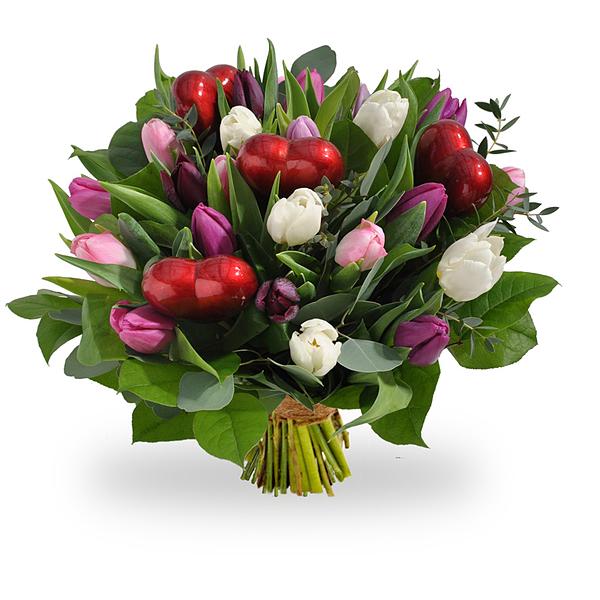 Pastel tulpen met hartjes groot