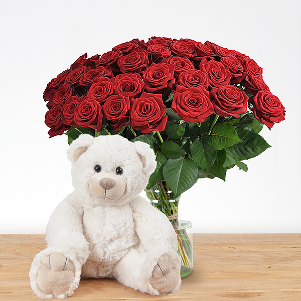 20 red roses with teddy