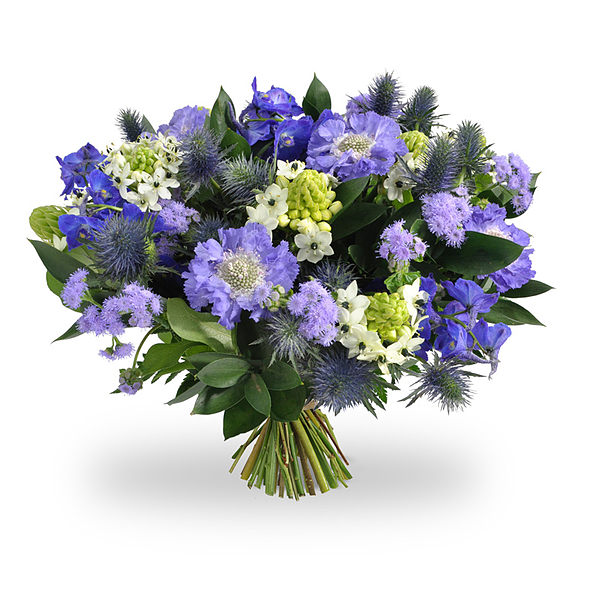 Blue/violet/white bouquet standard