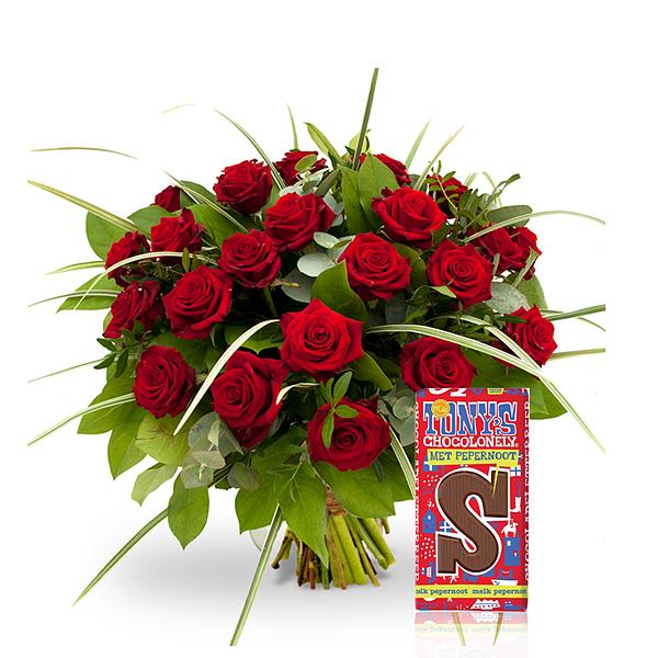 Red roses standaard met Tony's S