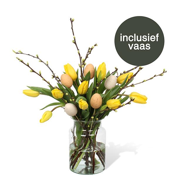 Gele Tulpen Pasen incl. vaas + deco ei