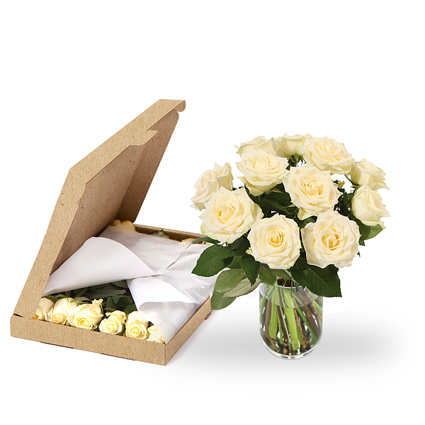 Postbox flowers white roses