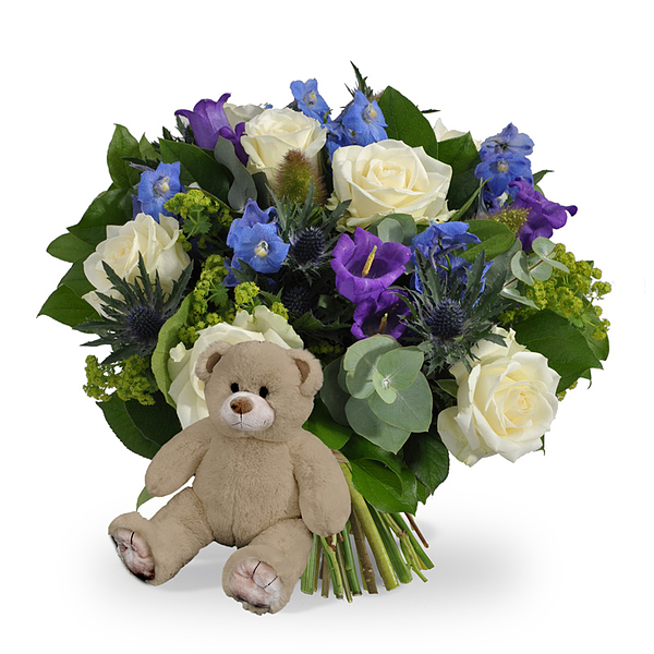 Boy bouquet XL + brown teddy
