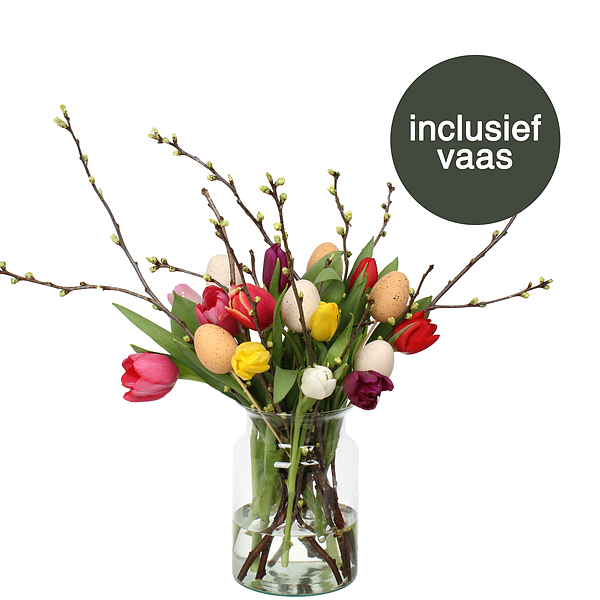 Gemengde Tulpen Pasen incl. vaas + deco ei