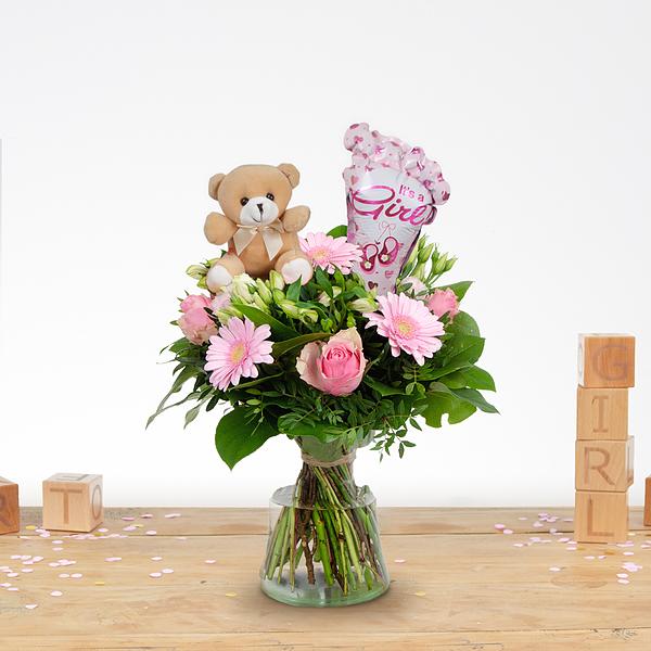 Birth bouquet Nola with ballon and bear standard