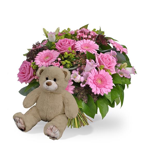 Girl bouquet standard + brown teddy