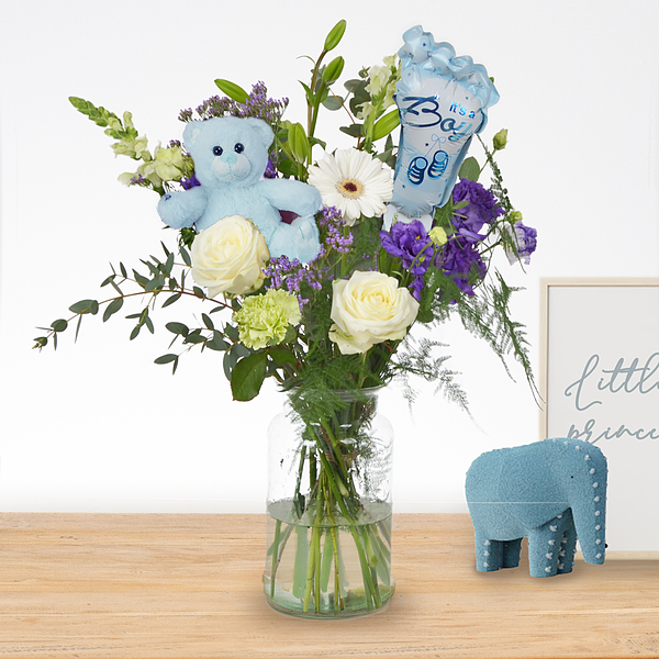 Birth bouquet Charlie with ballon and bear standard