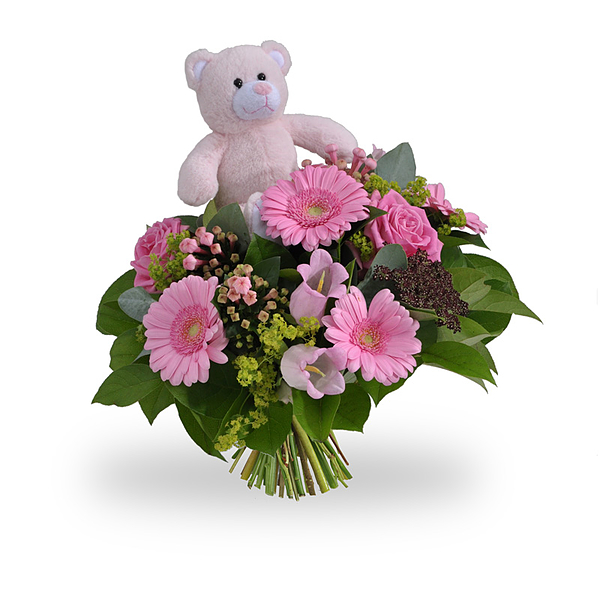 Girl bouquet standard with teddybear