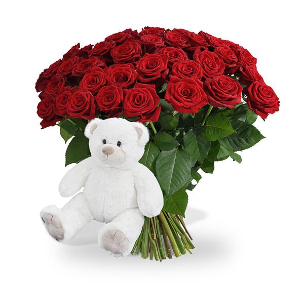 40 lange rode rozen + witte knuffelbeer