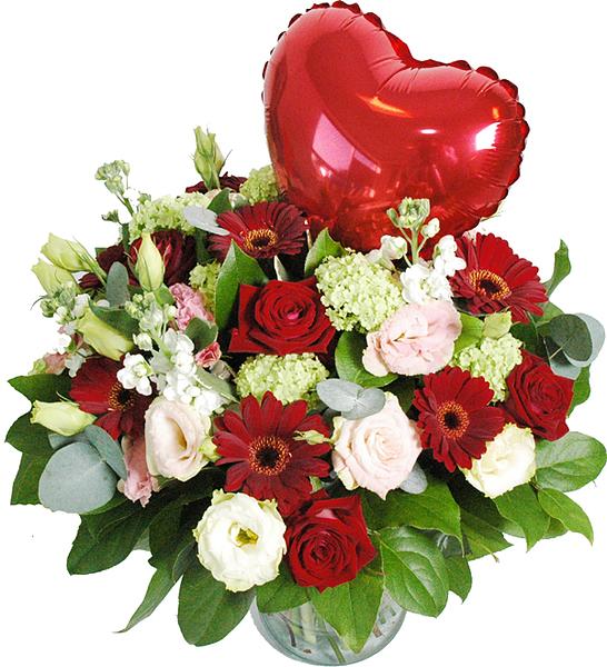 Liefdes boeket met hartje bestellen en bezorgen