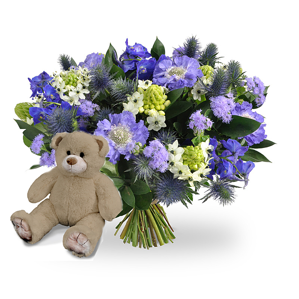 Boy bouquet medium + brown teddy