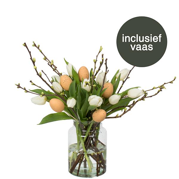 Witte Tulpen Pasen incl. vaas + deco ei