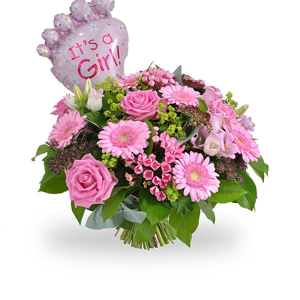 Its a Girl bouquet & balloon medium