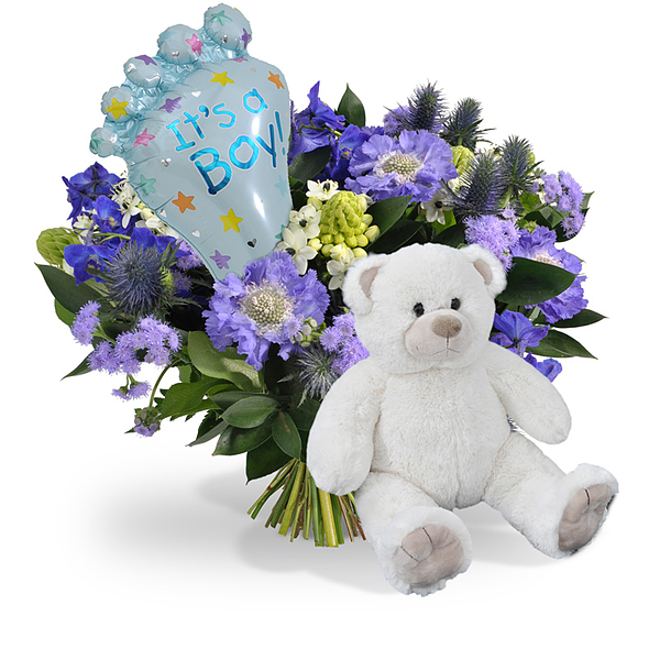 Bouquet Its a boy balloon medium + White teddy